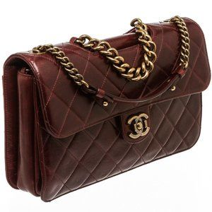 Chanel Burgundy Leather Large Perfect Edge Flap Ba